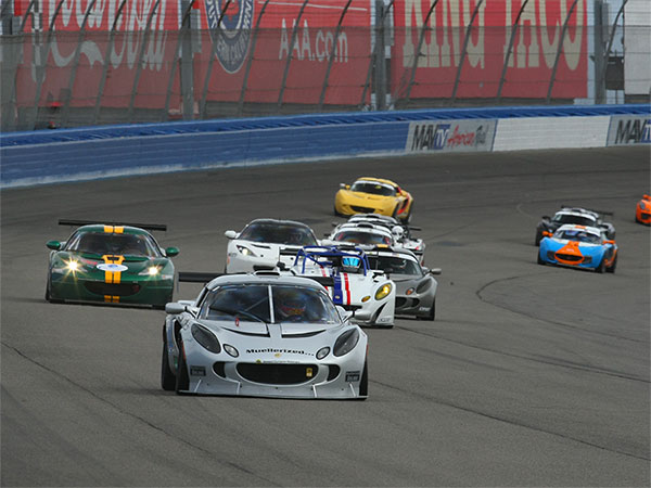 Derek leading                                                 overall on the way to                                                 the overall victory,                                                 Race 2 - California                                                 Speedway - Lotus Cup