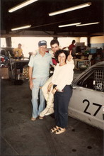Jim, my mother Lola and I celebrate my first racing victory, SCCA drivers school, Riverside Raceway July 1985.
