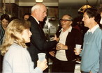 Jim shares a laugh with motorsport legends Kas Kastner and John Caldwell at the Mueller Household, scene of the Daytona 24 Hour victory party 1986.