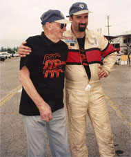 Nobody ever enjoyed motorsports as much as Jim Mueller did, we share a moment at the Pomona road races 1998.